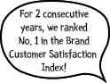 No. 1 for 2 consecutive years in the Brand Customer Satisfaction Index!